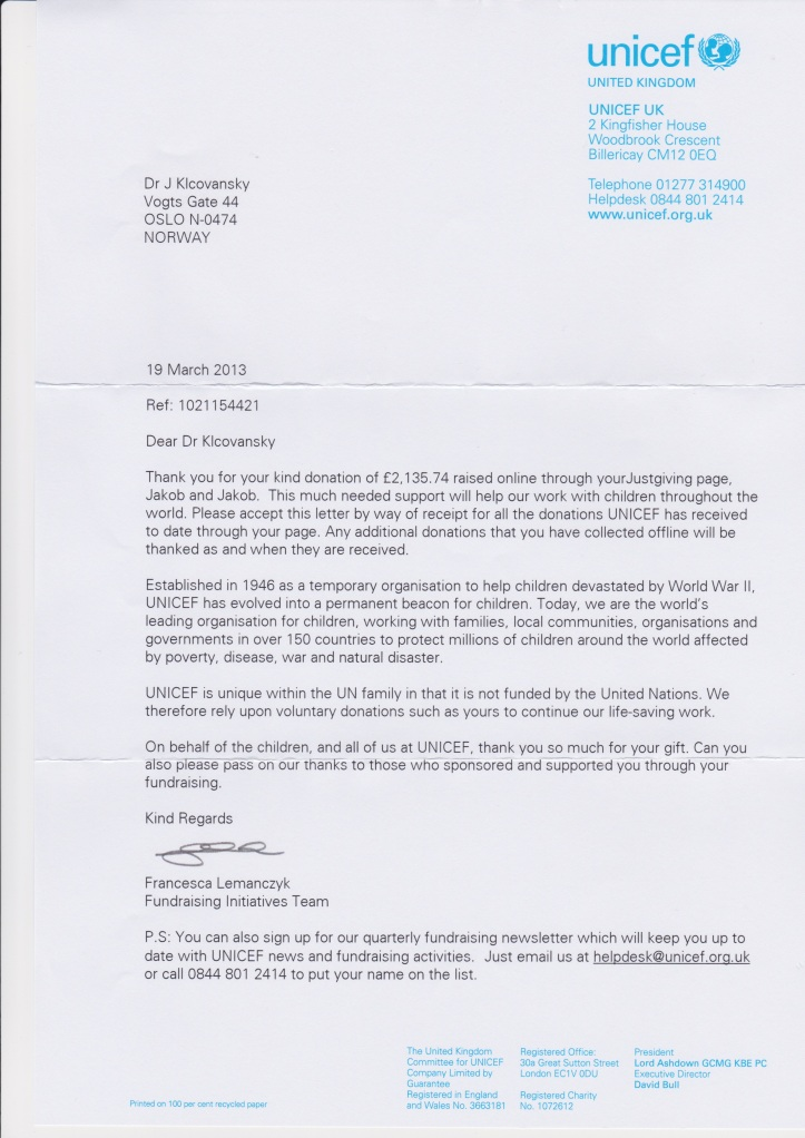 A Thank You-letter from Unicef UK