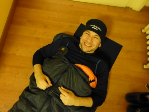 This is what happens when you live and eat in the States. You get stuck in a Mediumsized sleeping bag.