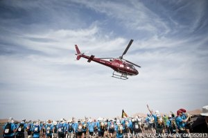 The heli hovering above us at the start of the Unicef charity stage 6.