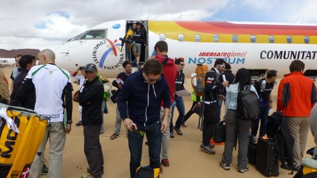 Disembarking at Errachidia Airport