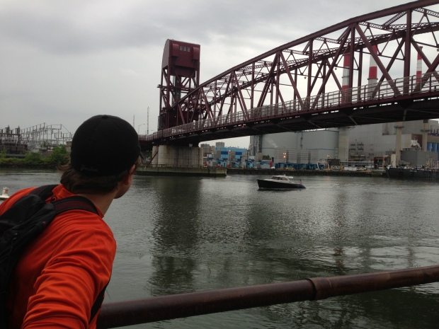Admiring the Roosevelt Island Bridge.