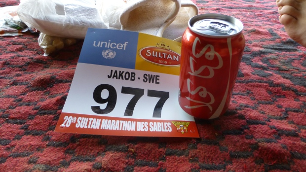 An Arabian Coke and a brand new number tag.