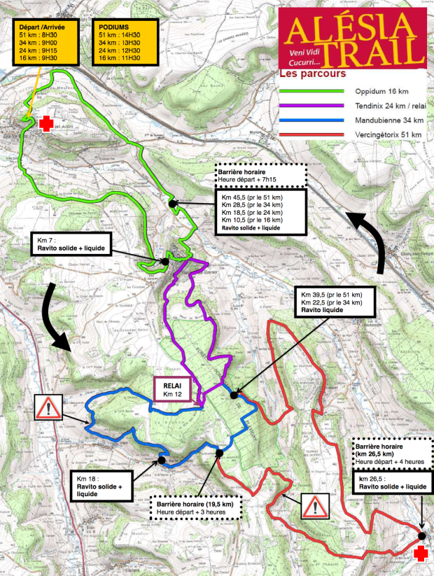 Oppidum is marked in green while Vercingetorix is marked in red (including all of the other colours as well), the course being run counter-clockwise.