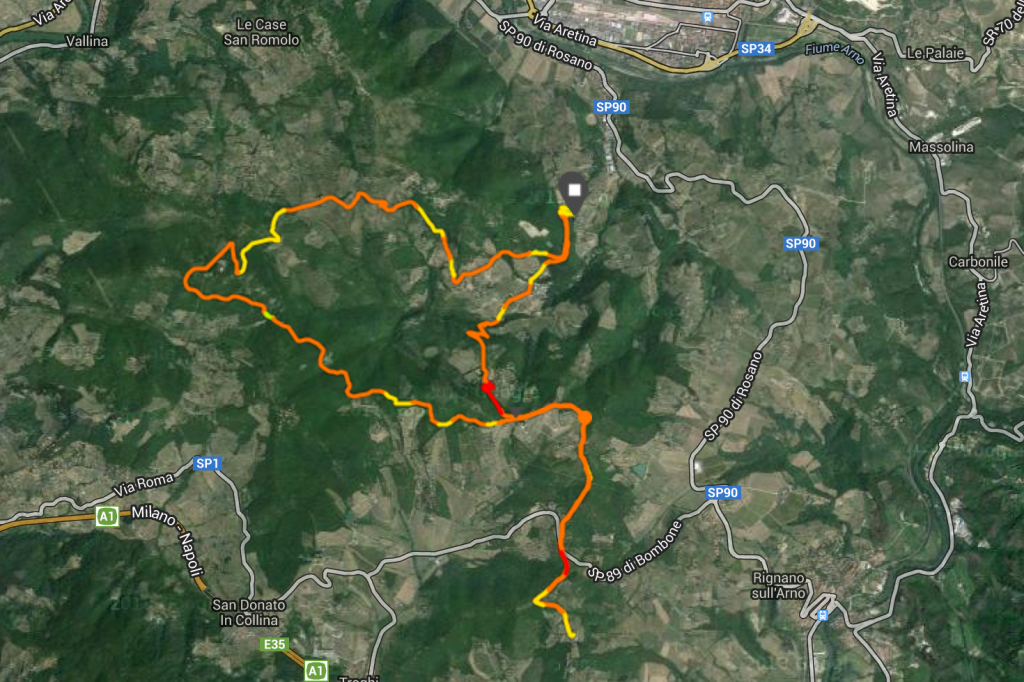 Starting at the little white square at 2 o'clock and then running counter-clockwise until around 5 o'clock and then running due south for the detour. The red part is the Haunted Forest.