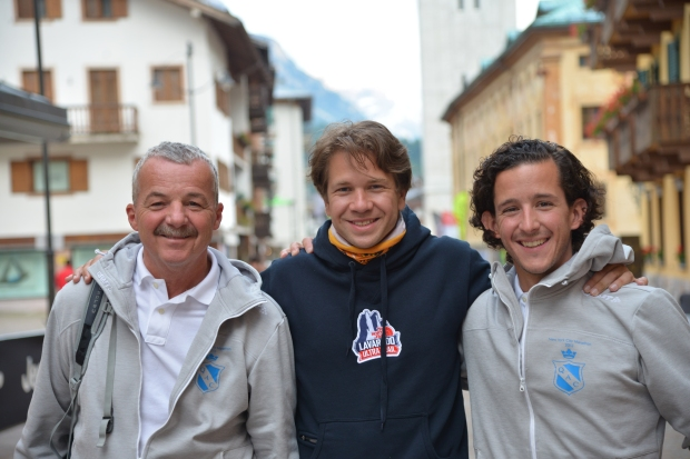 With dad and Jakob in Cortina, prior to Lavaredo Ultra Trail.