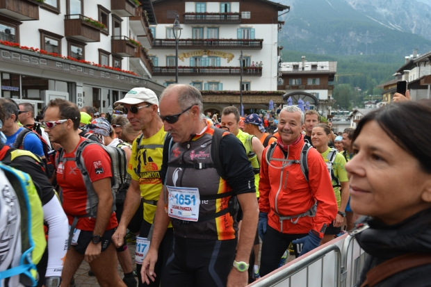 Dad at the start of his race, the Cortina Trail.