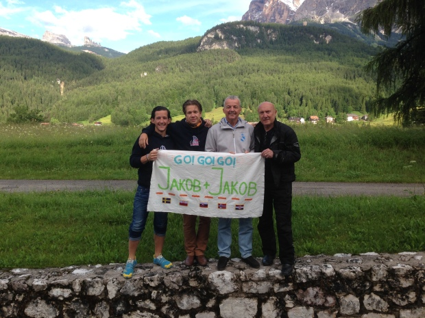 The athletes and our official photographer Tad with Marija's handpainted sign.