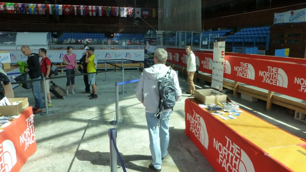 Dad picking up his race number at the expo.