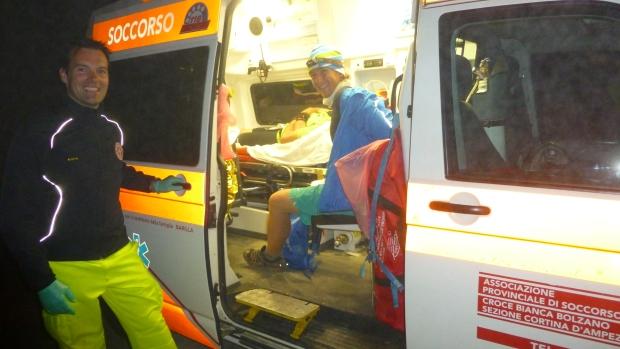 Ambulance pit stop.