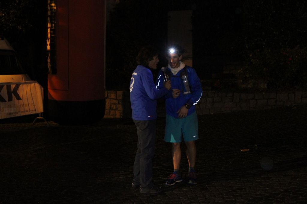 Interview at the finishing line.