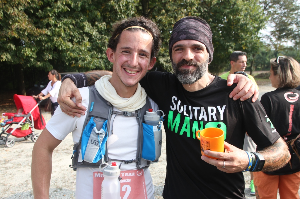 Matteo and I at the halfway point, 56 km in.