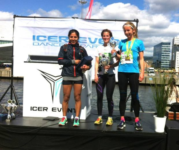 The women's 18 km podium, Hedda on the far right with her trophy :D Photo by sporten.com.