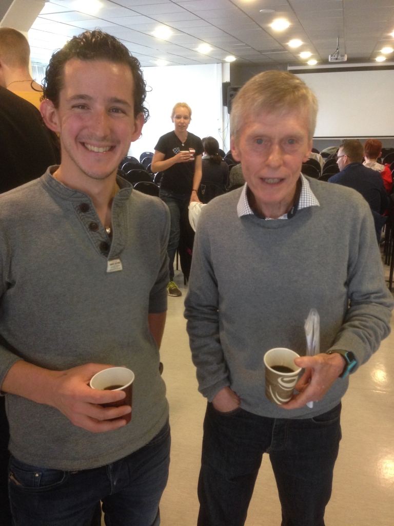 Chatting with Björn Sunesson during a coffee break.