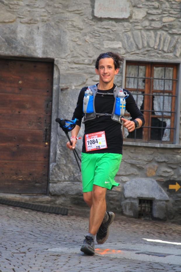 Running through the streets of Courmayeur.
