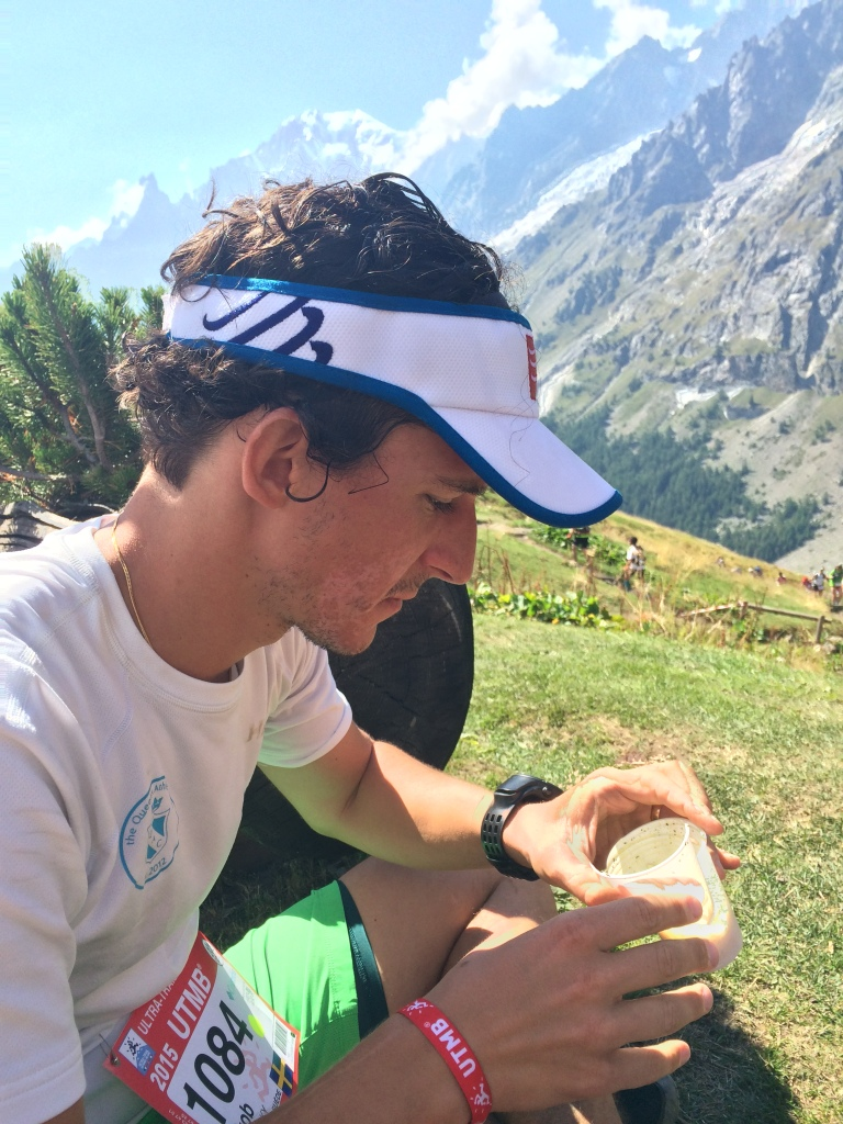 Looking sceptically at my lunch at Rifugio Bonatti.