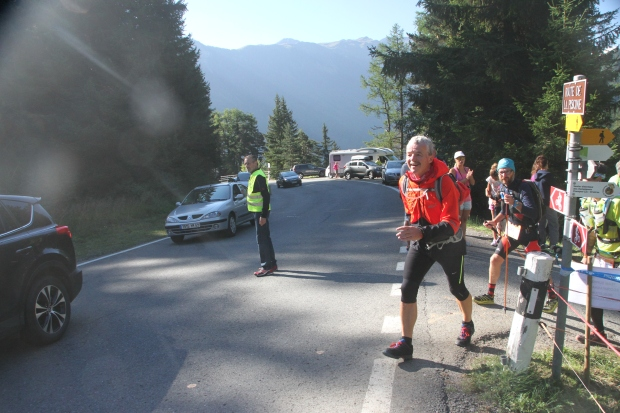 Dad reaching the first checkpoint at Champex-Lac.
